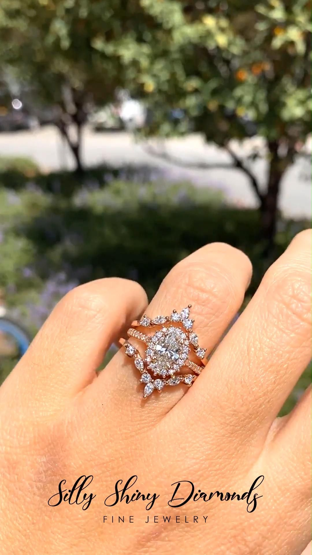 Engagement Rings Ideas Nia Two Hermes 1 55 Oval Diamond Halo Unique Engagement Wedding Three Rings Set Bride Wedding Network Explore Discover The Best And The